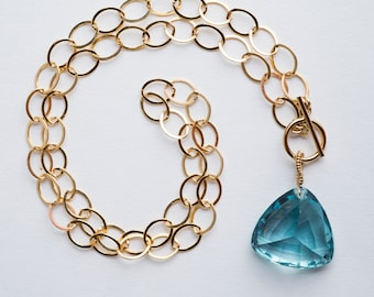 Addison Necklace: Aqua Quartz Gemstone Chain, Coil, Gold, Blue, AAA Gemstone, Toggle, Petite, Classic, Simple, Large Link Chain, Collar