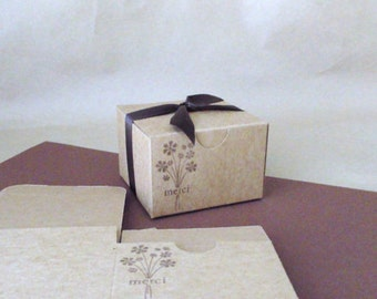 Merci Flower Party Favor Box - Set of 4 - 3x3x2 - Wedding - Bridal Shower - Baby Shower - Birthday - Gift packaging - French Thank you