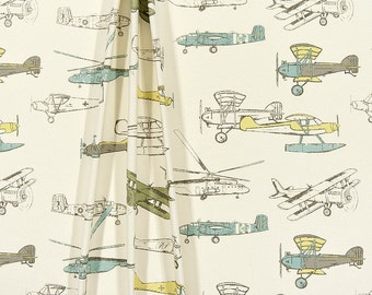 Airplane Curtains, Pair of Rod Pocket Panels - Vintage Air Formica Macon, Soft Blue Green and Yellow on Natural - Choose Size