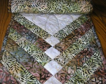 Quilted Table Runner,Brown and Green Batik Runner, 13 x 39  inches