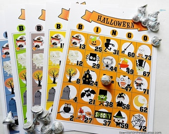 20 Halloween Bingo Game / Party Game / Kids Party Game / Halloween Party / Unique Bingo Game Sheets / Classroom Halloween Game