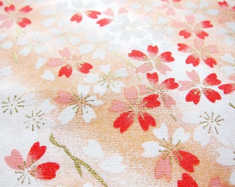 Cherry Blossom Fabric - Floral Print Fabric By The Yard - Cotton Fabric - Cherry Blossoms on Cream - Half Yard