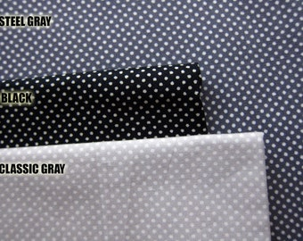 SALE Japanese Quilting Cotton Fabric - Classic Gray Tiny Dots Fabric By The Yard (TD06) - Half Yard