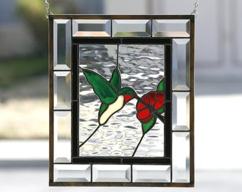 HUMMINGBIRD - Stained Glass Window Panel, Stain Glass, Stained Glass Window,  Hummingbird, Red Rose, Clear Bevels, Beveled, Ready to Ship