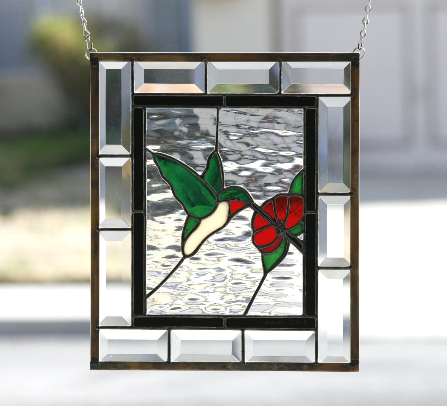 Hummingbird Stained Glass Window Panel Stain Glass Stained