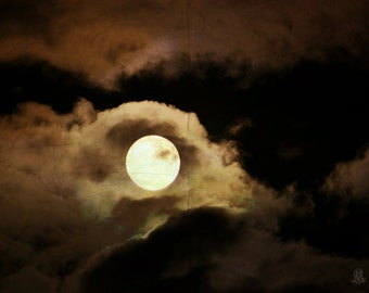 """Night Photography, Surreal, Dreamy, Moon, Clouds, Golden, Black, Celestial, Whimsical, 6x9 or 8x12. """"Harvest Moon""""."""