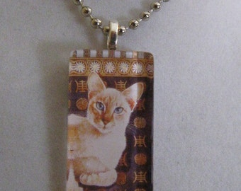Siamese Cat Glass Pendant Necklace - Lesley Anne Ivory Art