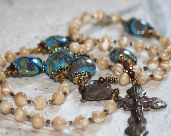 Mother of Pearl Catholic Rosary with Lampwork Beads, 5 Decade