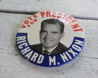 NIXON LARGE Badge Pin Political Campaign 1960s Presidential