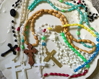 Vintage ROSARY lot Cross Catholic Religious Destash Craft