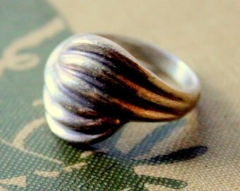 STERLING Ring Silver Size 8 Wave Modernist Thick Chunky