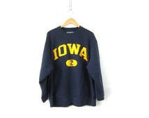 Iowa University sweatshirt. oversized pullover Cotton sweater Faded Navy Blue Slouchy School Sweater Champion Size UNISEX Large
