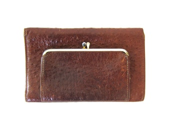Vintage ROLFS brown Cowhide leather wallet Leather Checkbook Purse Retro Folding billfold women's Coinpurse Dell's