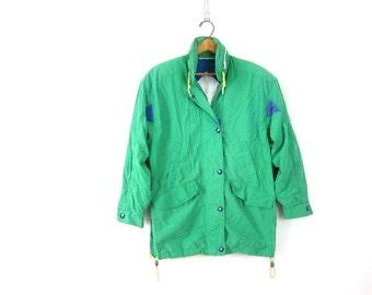 Retro 80s Spring jacket London Fog coat Green Hood jacket geometric patches Urban Street Hipster Slouchy Women's size Medium Petite Dell's