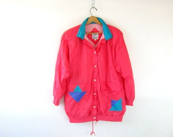 Retro 80s windbreaker jacket coat Bright pink color block jacket geometric patches Urban Street Hipster Slouch Women's size Medium Dell's