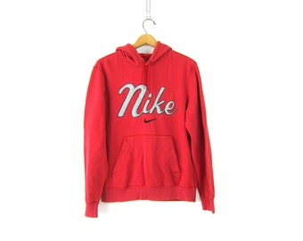 Red Nike Hooded Sweatshirt Athletic Pullover Nike Hoodie Sweater Slouchy Sports Sporty Prep Workout Top Distressed