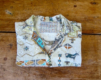 Vintage 80s boho tribal Aztec blouse hippie gypsy shirt button up ethnic festival 1980s short sleeve tshirt slouchy top Large