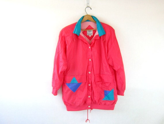 Retro 80s windbreaker jacket coat Bright pink color block jacket geometric patches Urban Street lightweight Womens Medium Dell's