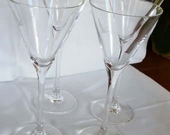 """Vintage Martini Vidka Set  of 4 excellent condition Grey Goose Made In France Tall 7 1/2"""" X 3"""" No Original Box"""