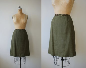 1960s vintage skirt / 60s green a line skirt / country set skirt / medium 28in waist 28w