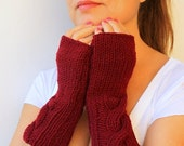 50% CLEARANCE SALE Cable Fingerless Gloves Mittens Burgundy Bordeaux Wool