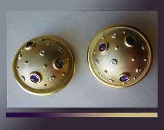 SPUTNIKS-Guy Laroche Space Age Luxe Jeweled Gilded Clip Earrings,Designer Haute Couture,France,Vintage Jewelry,Women