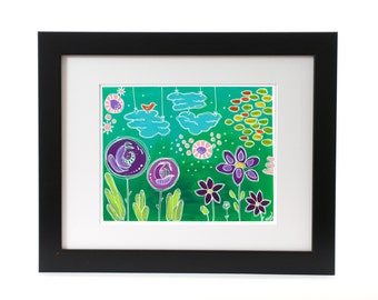 Art Print, Abstract Art, Wall Art, Flower Garden, Landscape, Acrylic Painting, handmade, gifts for her, Bright colors, Greens, Flowers