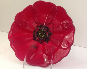 Fused Glass Red Poppy Bowl