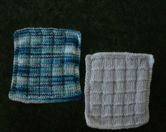 Two Hand Knit Dishcloths - measure approximately 7x81/2 inches
