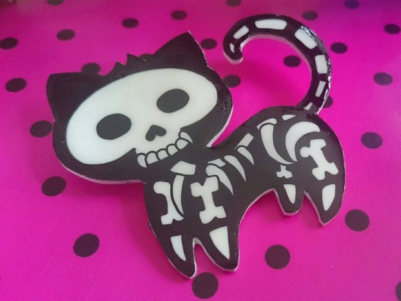 Skeleton cat necklace, Day of the dead cat, Halloween gift, Unusal Birthday gift, Gifts for teens, Cool Gift Ideas, Dia De Los Muertos,