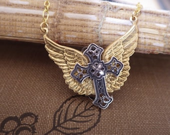 Wings Cross Pendant ~ Biker Chic ~ Silver Gold ~ Small Pendant ~ Mixed Metals ~ by Upsweptillusions