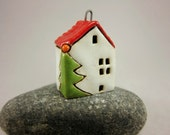 Xmas Home...Red Roof...Porcelain Pendant / Ornament