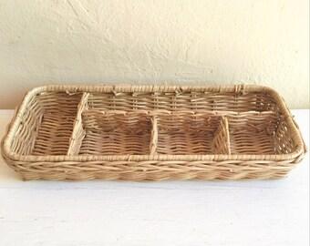 Farmhouse Style Desk Organizer Basket Tray Office Organization