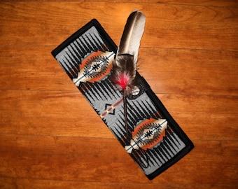 Feather Holder Wool Black / Grey Sunset Ridge Southwestern Geometric Tribal Handcrafted Using Fabric from Pendleton Woolen Mill