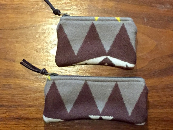 Organizer Set of 2 / Gift Set Wool Earthy Browns and Winter White Geometric Southwestern Handcrafted Using Fabric from Pendleton Woolen Mill