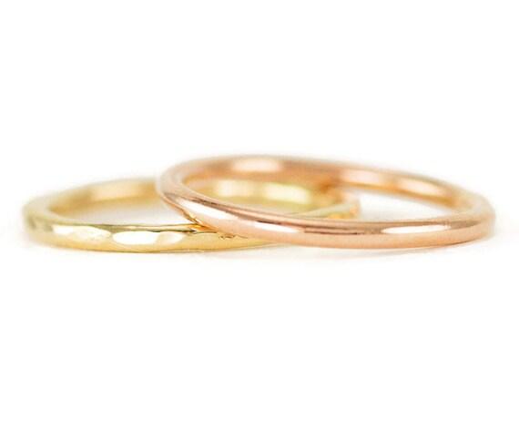 14K Gold Ring - 1.6mm Slender Gold Wedding Band or Stack Ring - 14k Yellow, Rose or White Gold