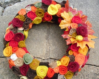 Felt Flower Autumn Wreath