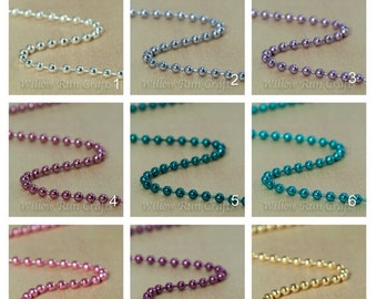 ON SALE 100 High Quality 2.4mm Colored Metal Ball Chain 24 inch Necklaces with Connectors, you select your color.