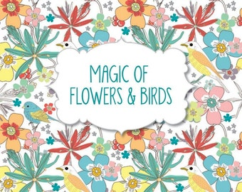 Adult Coloring Book - Magic of Flowers and Birds - Pads of Color