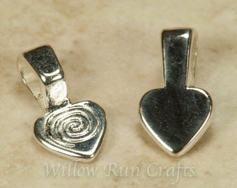 200 Small Shiny Silver Plated Heart Bails (07-06-290)