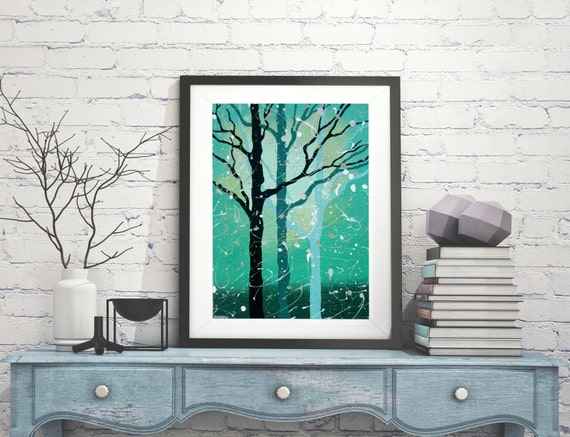 Turquoise Tree Print, Forest Print, Forest Art, Woodland Print, Tree Art, Tree Wall Art Woodland Decor, Signed Print