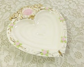 Heart Trinket Dish, Porcelain Heart Dish, Ceramic Heart Bowl with Pink Roses