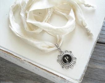 Typewriter Key Necklace. Letter P Necklace. Vintage Typewriter Key Jewelry. Long Boho Sari Silk Ribbon Necklace. Upcycled Eco Friendly Gift.
