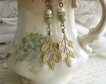 Leaf Earrings. Woodland Earrings. Shabby Vintage Assemblage Earrings. Brass Patina Leaves, Gemstones, Rhinestones, Pearls. Eco Friendly Gift