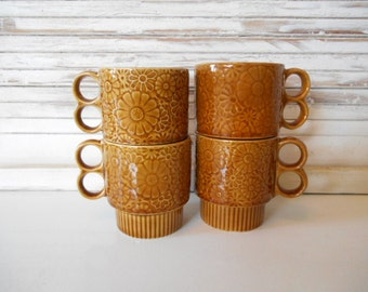 4 Brown Daisy Stacking Mugs Cups 1960s Retro Japan