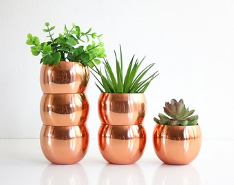 Mid Century Modern Copper Roly Poly Tumblers / Vintage Coppercraft Guild Copper Cups / Moscow Mules