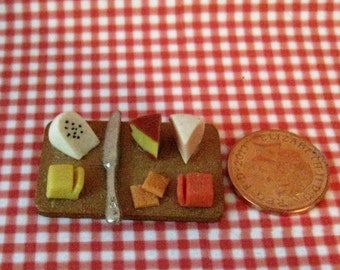 Dollhouse cheese trays, cheese tray, cheese, snack, dollhouse tray,  hand finished, twelfth scale, dollhouse food