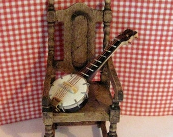Dollhouse Banjo,  Country Banjo, miniature banjo, Musical instrument,  twelfth scale dollhouse miniature