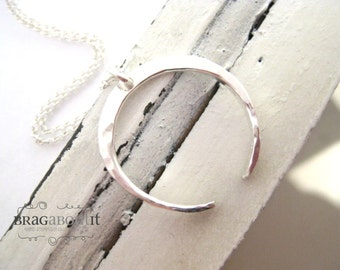 Crescent Moon Necklace . Hammered Crescent Moon Necklace . Sterling Silver Necklace . Simple Necklace . Brag About It