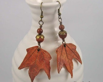 Red Maple Leaf earrings | polymer clay and gemstone beads on brass wire | botanical jewelry